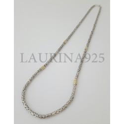 Cadena Bizantina x 60 cm Plata y Oro
