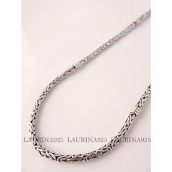 Cadena Bizantina x 45 cm Plata y Oro