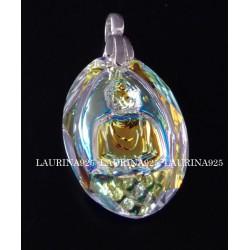 Dije Cristal Swarovski Oval Buda Aurora Boreal