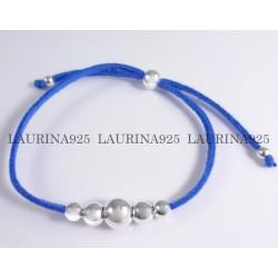 Pulsera bolitas combinadas y cuero azul
