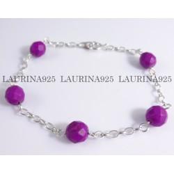 Pulsera Piedras con cadena Rolo oval Violeta