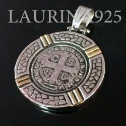 Medalla San Benito Religiosa Plata 925 Y Oro18 K