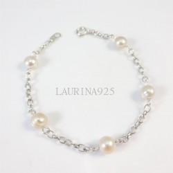 Pulsera Perlas con cadena Rolo oval