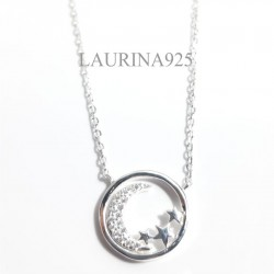 Conjunto forcet circulo Luna Zirconia con estrellas