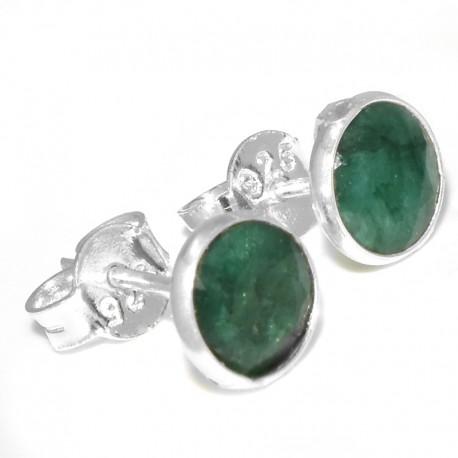 Aros pasantes lisos con piedra jade verde