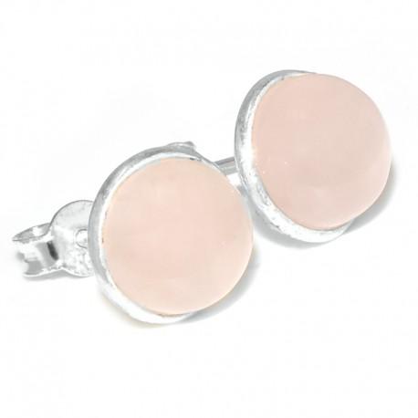 Aros pasantes lisos con piedra cuarzo rosa
