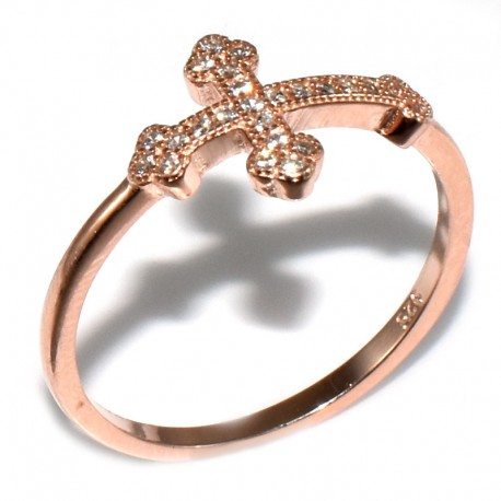 Anillo Cruz punta triangulo zirconia rose