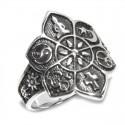 Anillo Flor Mandala con simbolos